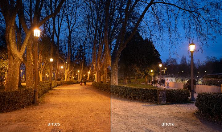 Comparación del alumbrado en el parque antes y después de la actualización. Mejora general en la calidad de la luz.