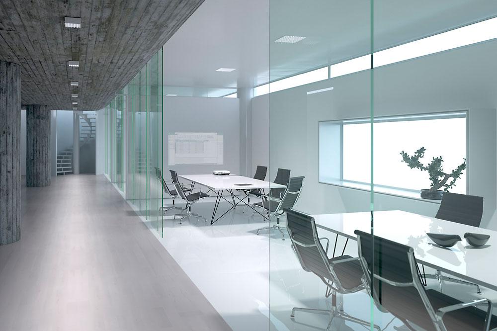 Oficina de diseño iluminada con Jilly compactas y empotrables de techo
