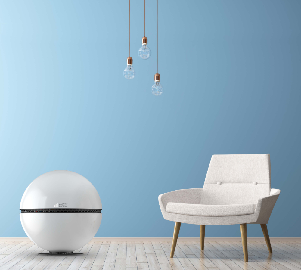 Modern interior of living room with white armchair 3d render