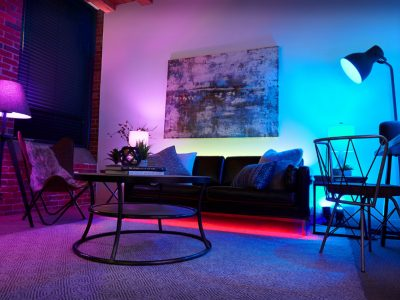 SMART+ Multicolor Living Room with Apple HomePod Side Angle