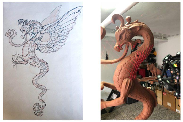 Dibujo y diseño del dragón en la farola