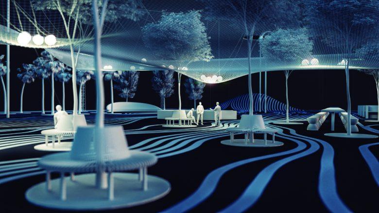 Light follows function, ganador de students proposals. Prototipo de un pequeño parque con figuras blancas cubierta por una red con luces.